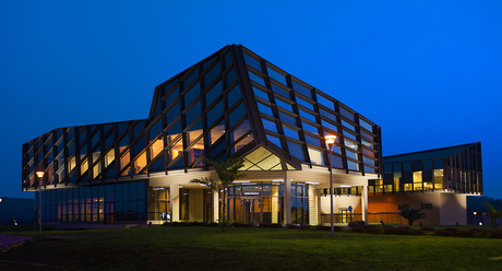 E3MG campus, Moanda, Gabon, night view of the main building
