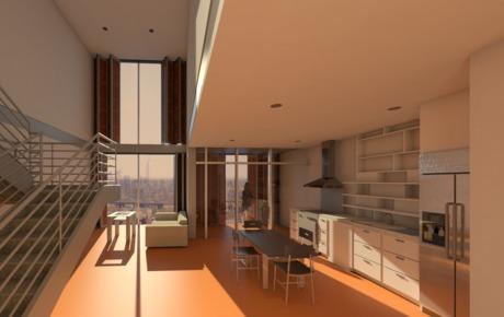 Newark Edge Housing - Interior Rendering- 3rd Year Studio - NJIT