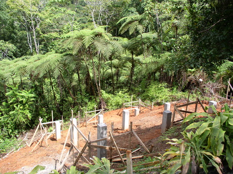 Residential project update: Footing for the guest retreat of Dos Mariposas, an off-the-grid private retreat in Costa Rica. Fern forest in the background. In collaboration with Studio Meraz