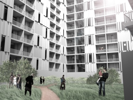 Newark Edge Housing - Courtyard - 3 Year Studio - NJIT