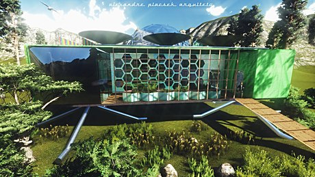 just finished competion entry ...Fuller Greenhouse project- An advanced self sufficient habitat that produces and processes its own energy, controlled by Real-data Systems