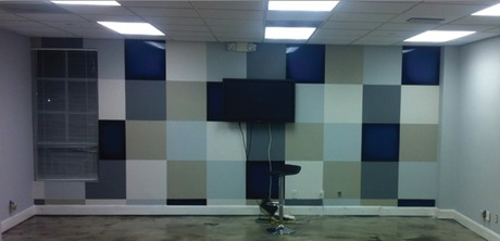 Blue Coast office accent wall- AFTER