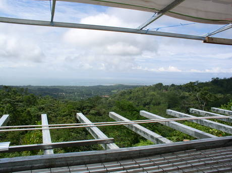 Residential project update: Balcony view from Dos Mariposas, an off-the-grid private retreat in Costa Rica. We're utilizing a hybrid of solar, hydro-power and geo-thermal systems. Three weeks into construction. In collaboration with Studio Meraz