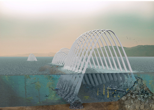 """Cetacea"""" comprises wave-, wind-, and solar-powered generators within graceful arches to maximize energy production."""