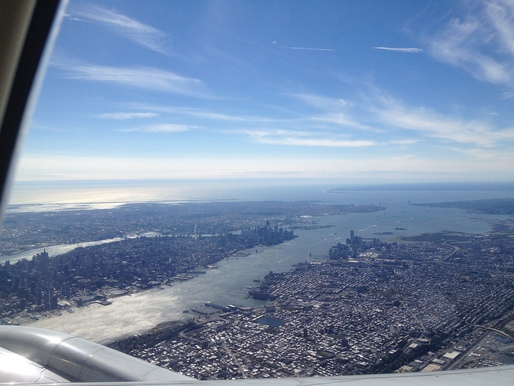 NYC from Airplane Window