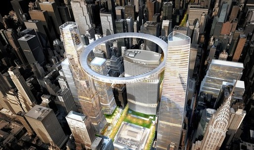 SOM Proposes Hovering Pedestrian Donut for Future Grand Central Terminal