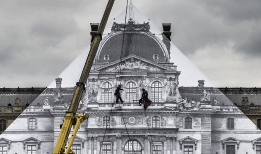 Artist JR covers the I.M. Pei's Pyramid in giant image of the Louvre