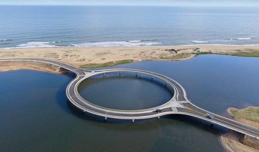 Take a look at Rafael Viñoly's new circular bridge in Uruguay