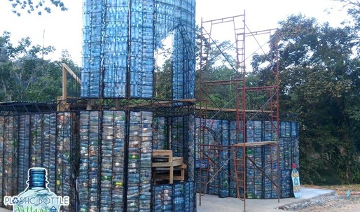 This man is building an entire village from recycled plastic bottles