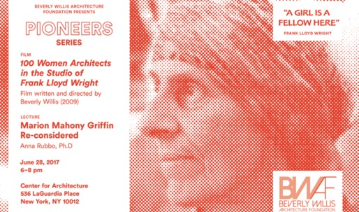 """Screening of """"100 Women Architects in the Studio of Frank Lloyd Wright"""" on June 28th"""