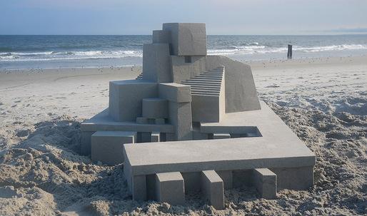 Artist Calvin Seibert races against time in building these modernist sandcastles