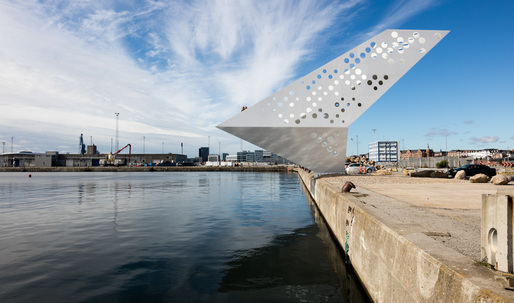 """Perforated """"Sailing Tower"""" spotlights Denmark's commercial Aarhus harbor"""
