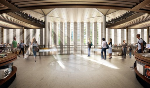 In Renderings for a Library Landmark, Stacks of Questions, Still