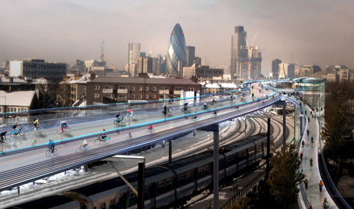 Norman Foster unveils plans for elevated 'SkyCycle' bike routes in London