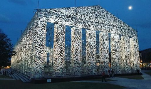 'The Parthenon of Books' is constructed with 100,000 banned books at historic Nazi book burning site