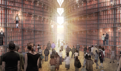 """One brick per Bible verse in Napp Studio's enormous, lightbulb-infused """"Archive of Light"""""""