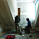 Students installing ventilation window