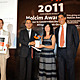 Holcim Silver Award: Luca Atanasio, Consul General of Italy in Morocco; Piero Corpina, Deputy Country Manager, Holcim Italy; winner Giovanna Claudia Rosa Romano, ARCò - Architettura e Cooperazione; and Javier de Benito, Area Manager Holcim for Mediterranean & North Africa.