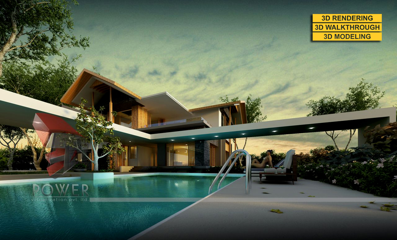 3D Modern Farm House Exterior evening rendering and elevation